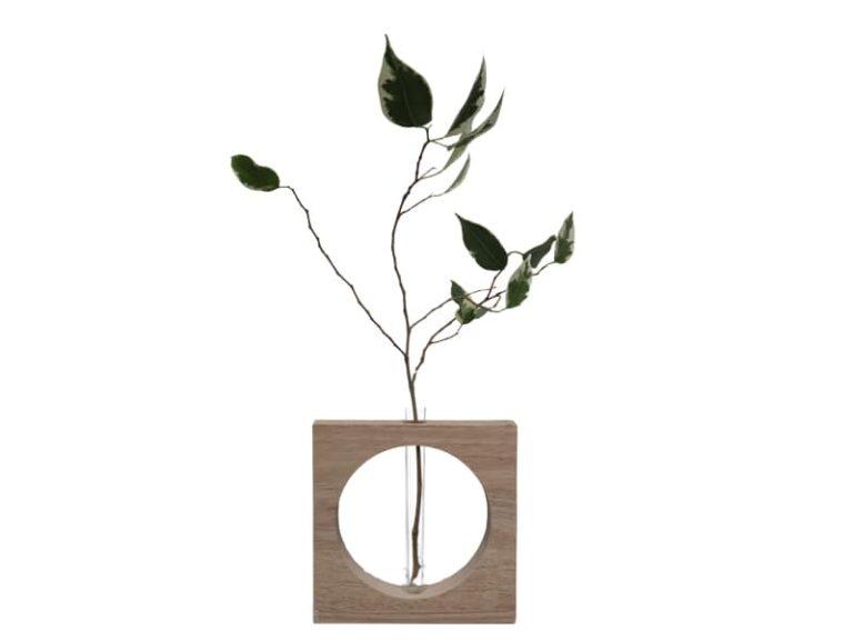 H3 Te koop Hout Vaas met proefbuisje egaal hout